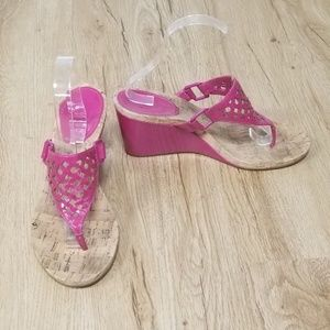 COACH Brooke Fuchsia Patent Leather Wedge Sandals